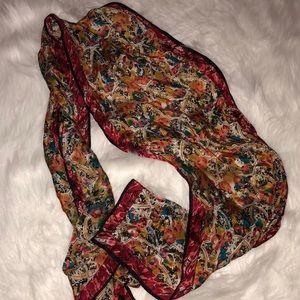 Vintage silk printed scarf 70s era